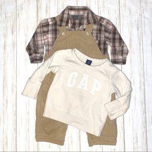 Baby gap overalls shirt bundle boys 18-24 mo.